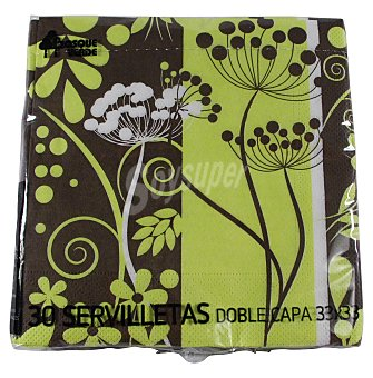 Bosque Verde Servilleta papel 33X33 cm decoracion verde/marron Paquete 30 u