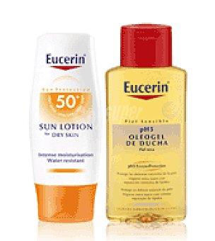 Eucerin Loción solar FPS 50 para pieles secas + Regalo de Oleogel de ducha 200 ml. 150 ml