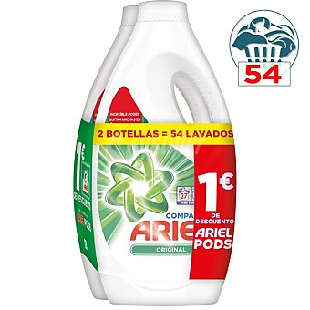 Ariel Original Compact detergente máquina líquido Pack 2 botellas x 27 dosis