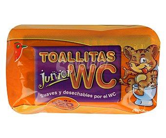 Auchan Toallitas suaves y desechables por el WC, especiales para niños Junior 2 x 60 uds
