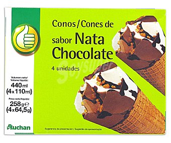 Productos Económicos Alcampo Conos de nata y chocolate Pack de 4 uds