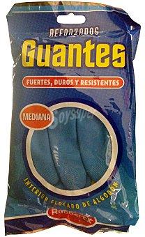 Rubberex Guantes reforzado azul y amarillo talla mediana Paquete 2 u