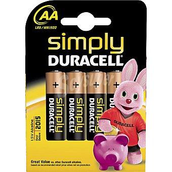 Duracell Pila básica alcalina AA (lr6 - mn1500) 1,5 voltios blister 4 unidades 4 unidades