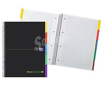 Oxford Cuaderno A4 con cuadrícula Black n´ Colours con 10 hojas y 5 separadores, oxford