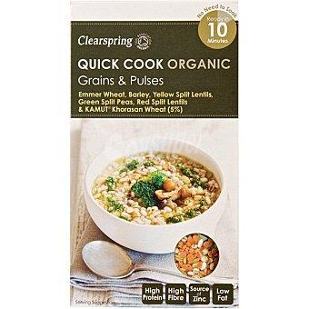 Clearspring Quick Cook Organic emmer, cebada, guisantes, lentejas rojas y amarillas y Kamut ecológicos para cocer Estuche 285 g