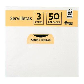 Bosque Verde Servilleta papel 3 capas 33x33 cm blanca Paquete 50 u