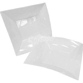 CASACTUAL Plato llano cuadrado blanco 23 x 23 cm Paquete 6 unidades