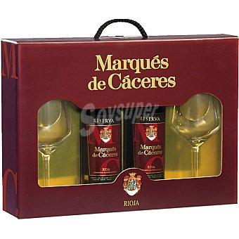 Marqués de Cáceres Vino tinto reserva D.O. Rioja + 2 copas Estuche 2 botellas 75 cl