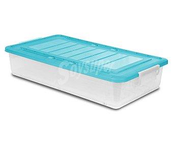 ARAVEN Bajo cama multiúsos fabricado en plástico transparente con tapa de color azul o morado 1 Unidad
