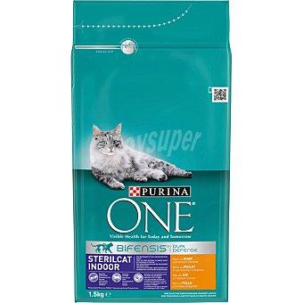 Purina One Sterilcat indoor pienso especial para gatos adultos de interior esterilizados con pollo con pollo y cereales integrales Bolsa 1,5 kg