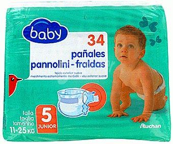 Auchan Pañales Basic para Niños de 11 a 25 Kilos Talla 5 34u