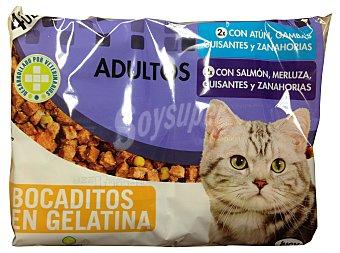 Lucy Comida gato adulto (atun, gambas, guisantes Y zanahorias) + (salmon, merluza, guisantes Y zanahoria) Sobre pack 4 x 100 g - 400 g