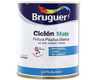 Bruguer Pintura plástica para interior, de color blanco y con acabado mate, de la serie Ciclón 0,75 litros