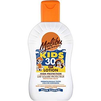 Malibu Leche protectora Kids para niños solar FP-30 resistente al agua Frasco de 200 ml