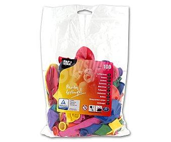 Papstar Globos redondos de 23 centímetros, colores surtidos Paquete de 100 Unidades