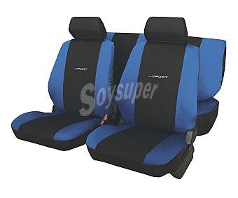ERMA Daytona Juego de fundas para asientos de automóvil de talla única y fabricadas en poliester de color negro con los laterales en azul CAR factory Daytona