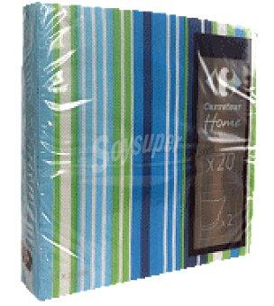 Carrefour 20 servilletas 33X33 cm 2 capas multiraya verde carrefour