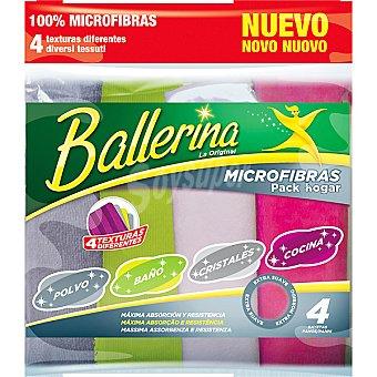 Ballerina Pack bayetas microfibras hogar con texturas diferentes polvo baño cristales y cocina envase 4 unidades máxima absorción resistencia y suavidad Envase 4 unidades