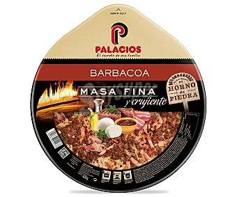 Palacios Pizza de masa fina y crujiente con salsa barbacoa, carne picada y bacon 390 gramos