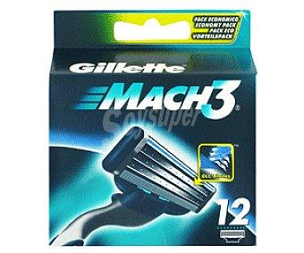 Gillette Recambio de cuchillas de 3 hojas para maquinilla de afeitar Match 3 12 unidades