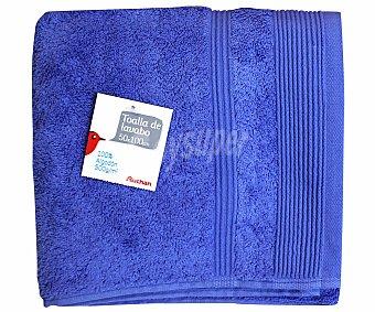 Auchan Toalla 100% algodón lisa para lavabo, color azul, 50x100 centímetros 1 Unidad