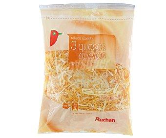 Auchan Queso emmental, cheddar y gouda rallado para gratinar 200 gramos