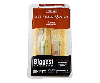 Lord Sandwiches Sándwich Biggets Serrano Queso Pan Tomate 180 Gramos
