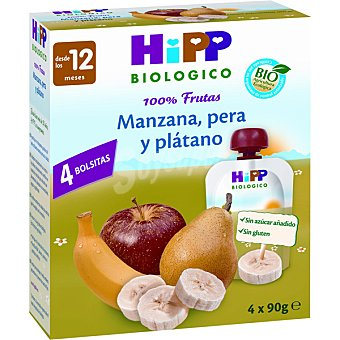 HiPP Biológico Bolsitas pouche de manzana pera y plátano Estuche 4 x 90 g