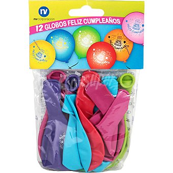 NV. Globos decorado feliz cumpleaños bolsa 12 unidades Bolsa 12 unidades