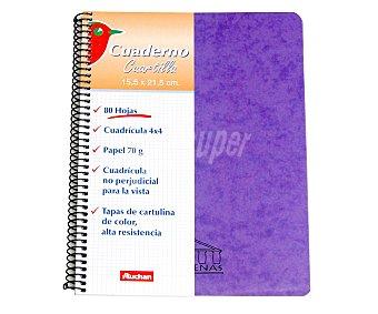 Auchan Lote de 3 cuadernos de tamaño 4º, con cuadricula de 4x4 milímetros, margen izquierdo, 80 hojas de 70 gramos, tapas de cartulina, microperforados con encuadernación con espiral metálica 1 unidad