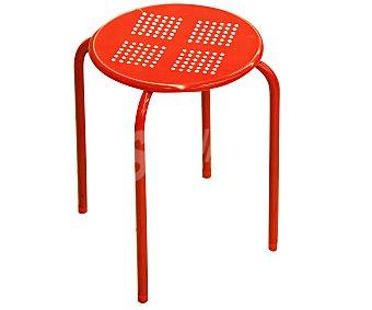 Productos Económicos Alcampo Taburete de metal apilable color rojo, medidas: 30x30x44 centímetros 1 unidad