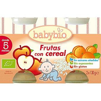 BABYBIO Tarritos de frutas con cereal écológicos sin gluten pack 2x130g estuche 260 g Pack 2x130g