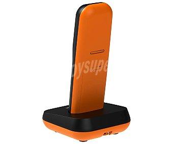 Alcatel Teléfono inalámbrico naranja/negro, identificador llamadas, pantalla retroiluminada, agenda 50 contactos E155