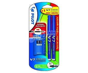 Pilot Roller Tinta Liquida V-7 recargable + 3 Recambios azules 2 unidades