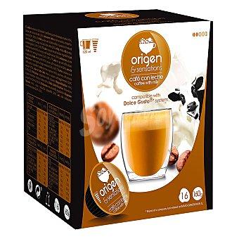 Origen & Sensations Café con leche en cápsulas compatible con Dolce Gusto 16 unidades de 10 g