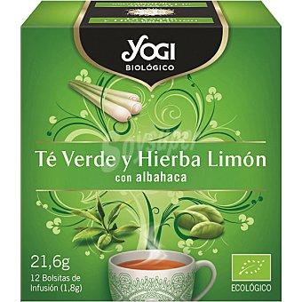 Yogi Tea Té verde y hierba limón con albahaca ecológico Caja 12 bolsitas (21 g)