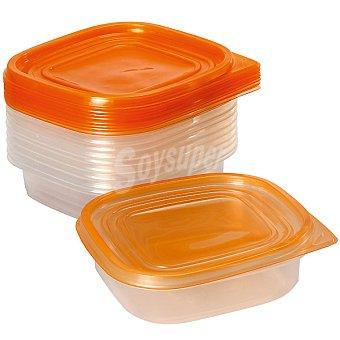 FLASH Herméticos Rectangulares transparente y tapa naranja set de 10 unidades 10 unidades