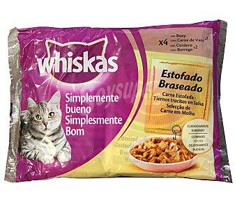 Whiskas Comida húmeda para gatos sabor carne estofada  Pack 4 x 85 g