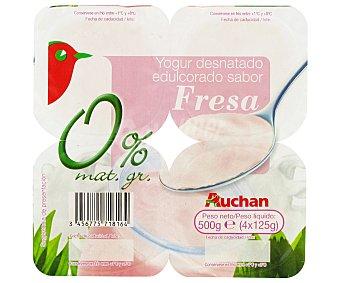 Auchan Yogur desnatado con trozos de fresas Pack de 4 uds de 125 gr