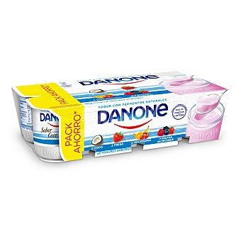 Danone Yogur surtido de fresa, macedonia, coco, frutas del bolque 8 unidades de 125 g