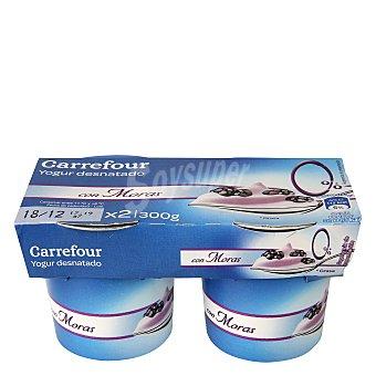 Carrefour Yogur desnatado con moras Pack 2x150 g