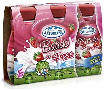 Central Lechera Asturiana Batido de fresa Pack 3 envases de 200 ml