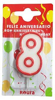 Roura Vela cumpleaños Nº 8 1 unidad