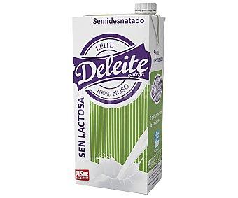 Deleite Galego Leche de vaca, semidesnatada y sin lactosa de origen gallego 1 l