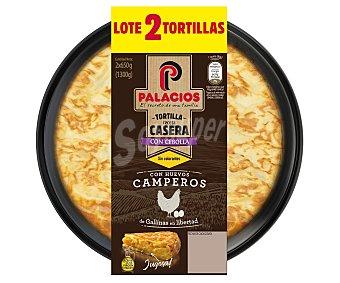 Palacios Tortilla fresca receta casera, con cebolla y aceite de oliva virgen extra 2 x 650 g