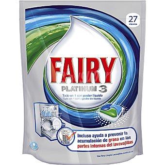 Fairy Detergente lavavajillas Platinum 3 regular todo en 1 con poder líquido Envase 27 pastillas