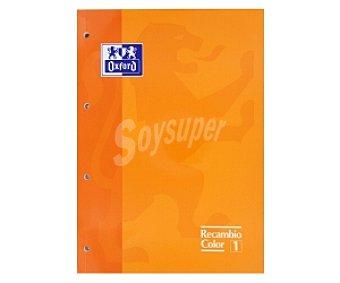 Oxford Recambio tamaño folio, con cuadrícula de 5x5 milímetros, margen izquierdo, 4 taladros, 80 hojas de 90 gramos y tapa de color naranja 1 unidad