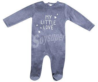 In Extenso Pijama pelele de bebe aterciopelado, color gris, talla 56