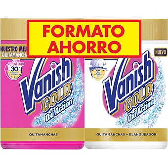 Vanish Gold pack con quitamanchas Oxi Action + quitamanchas y blanqueador en polvo pack 2 bote 470 g Pack 2 bote 470 g