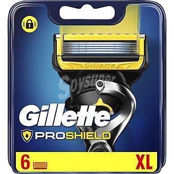 Gillette Fusion Proshield Recambio de cuchillas de 5 hojas para maquinillas de afeitar 6 uds